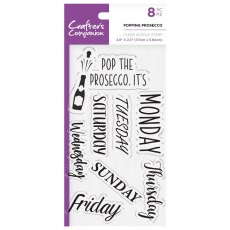 Crafter's Companion Clear Acrylic Stamp Set - Quirky Sentiments - Popping Prosecco