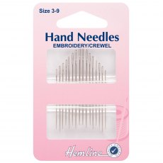 Hemline - Hand Sewing Needles - Embroidery/Crewel - Size 3-9