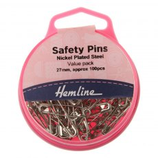 Hemline - Safety Pins Nickel - Value Pack - 100 pieces
