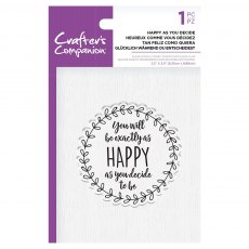 Crafter's Companion Clear Acrylic Stamp Set - Quirky Sentiments - Happy as you Decide