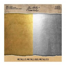Idea-ology - Tim Holtz Kraft Stock - Metallic Paper Pad 8 x 8 inch (Gold/Silver)