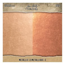 Idea-ology - Tim Holtz Kraft Stock - Metallic Paper Pad 8 x 8 inch (RoseGold/Copper)
