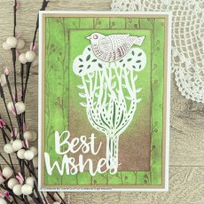 Woodware Clear Stamps - Lino Cut - Perching Bird