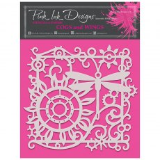 Pink Ink Designs - 8 x 8 inch Stencil - Cogs and Wings