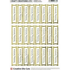 Wedding Invitation Die-Cut Banners - Gold/White (24 Banners)