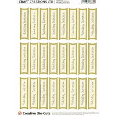 Wedding Invitation Die-Cut Banners - Gold/Cream (24 Banners)