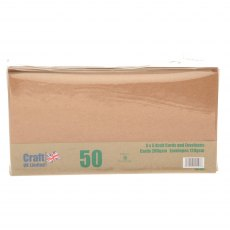5 x 5 inch Kraft Cards and Envelopes - 50 pack