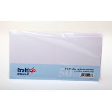 5 x 5 inch White Cards and Envelopes - 50 pack