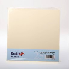8 x 8 inch Ivory Cards and Envelopes - 25 pack