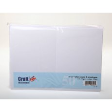 5 x 7 inch White Cards and Envelopes - 50 pack