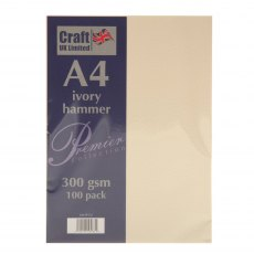 Craft UK Hammered A4 Card Pack - Ivory (100 sheet pack)