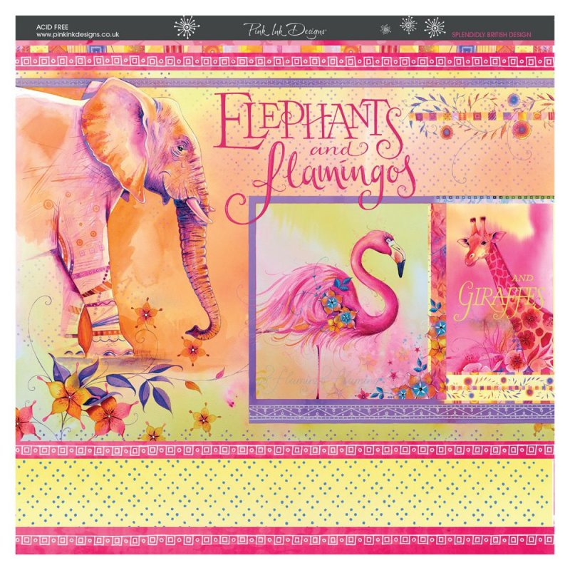 8 x 8 Decorative Paper Pad Elephants and Flamingos Pink Ink Designs